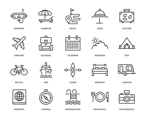ilustraciones, imágenes clip art, dibujos animados e iconos de stock de conjunto de iconos de viaje - calendario de naturaleza