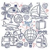 travel icon set. airplane, car, ship. hand-drawn illustration