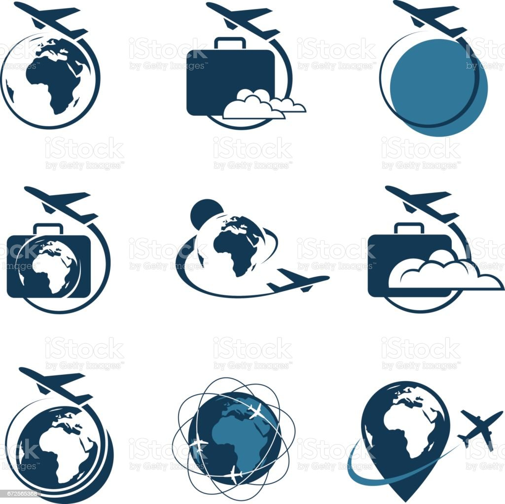travel icon set - illustrazione arte vettoriale
