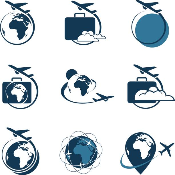 travel icon set vector art illustration