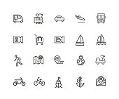 Travel icons. Set of twenty line icons. Train ticket, bus, bicycle. Trip concept. Vector illustration can be used for topics like transportation, tourism, vacation