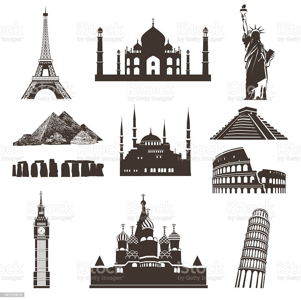 Travel icon set, vector silhouettes vector art illustration