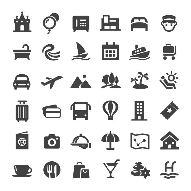 icons - serie big reisen - betttablett stock-grafiken, -clipart, -cartoons und -symbole