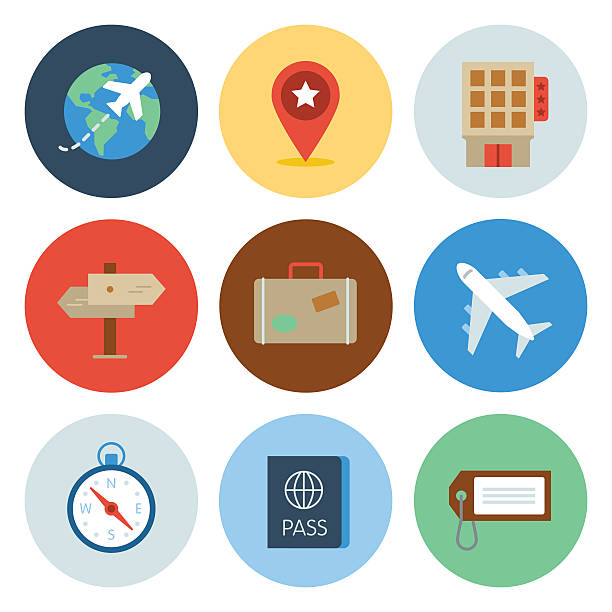 travel icons — circle series - business travel stock illustrations, clip art, cartoons, & icons