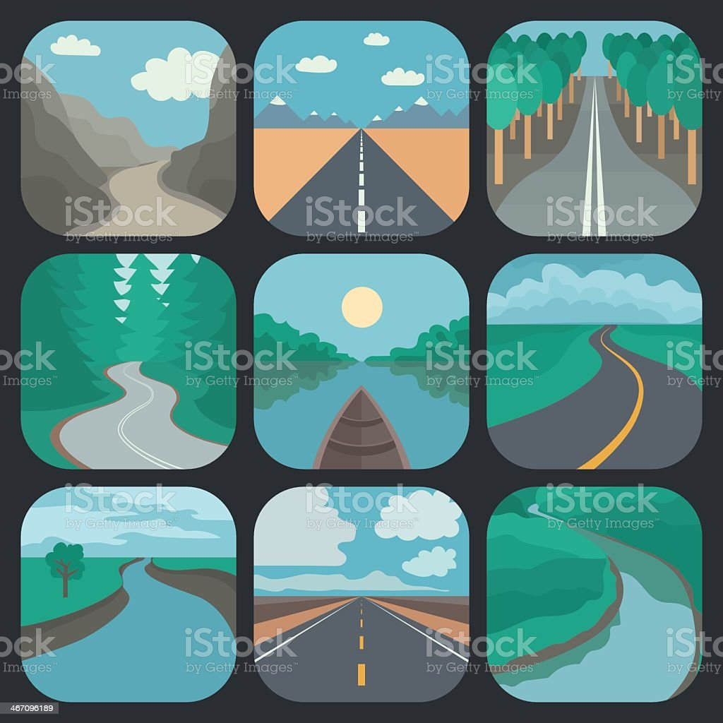 Travel icons depicting landscapes of open roads and rivers vector art illustration