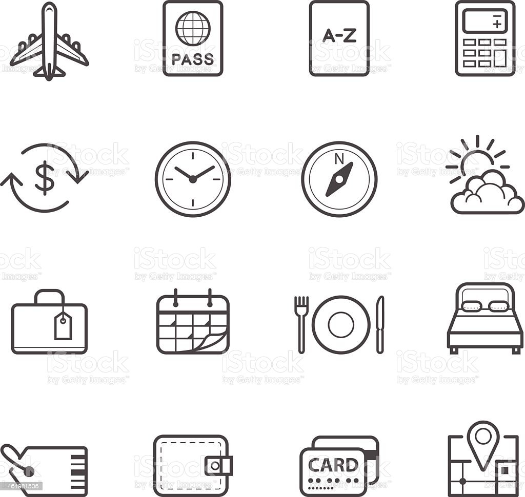 Travel Icons for application vector art illustration