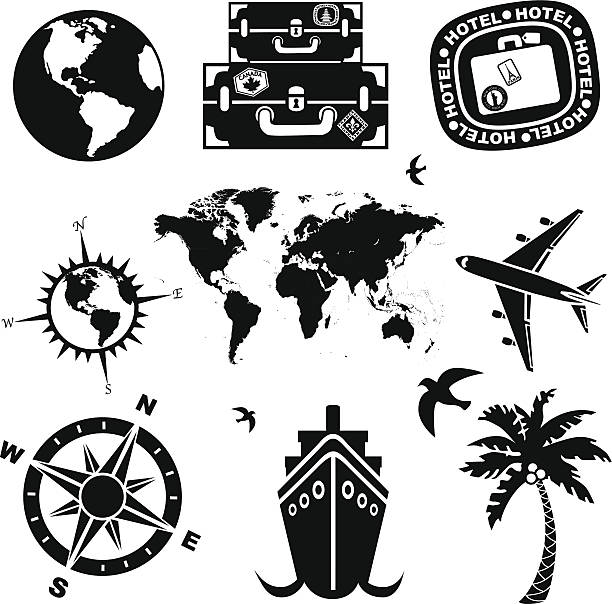 Travel Icons In Black And White Vector Art Illustration