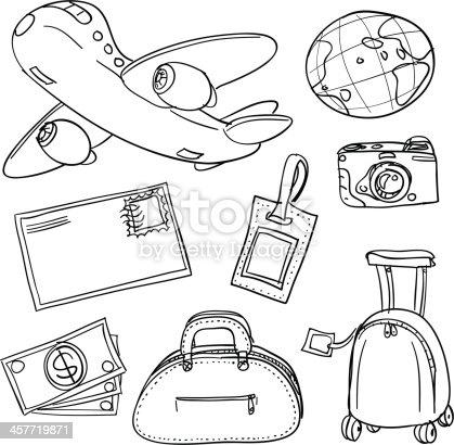 istock Travel icons in black white 457719871