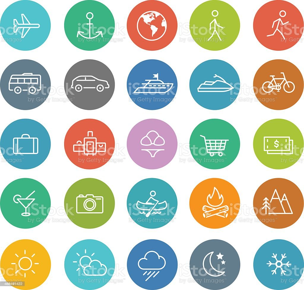 travel icons in color circles set vector art illustration