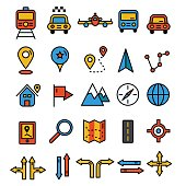 Travel icons in flat solid line design. Map markers and transportation signs and symbols. Tourism navigation vector elements.