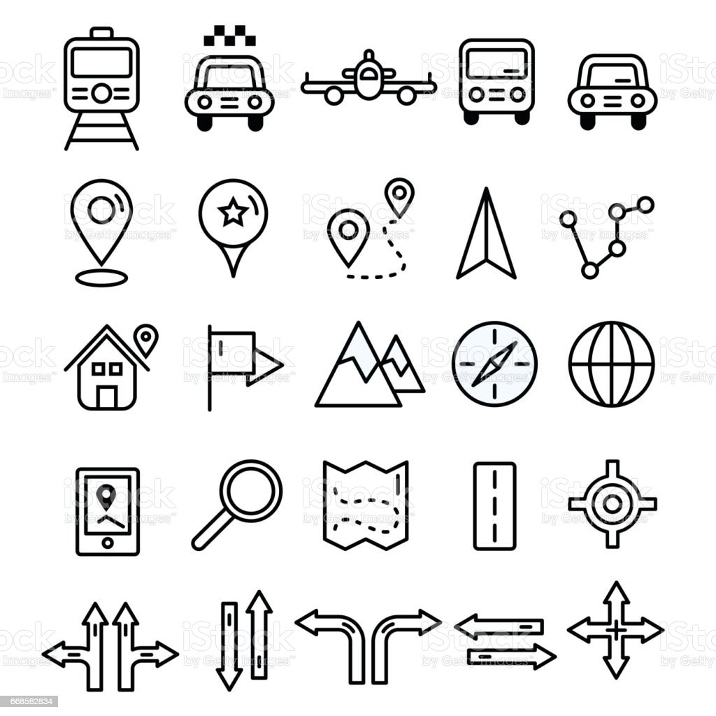 Travel icons in flat solid line design. Map markers and transportation signs and symbols. Tourism navigation vector outline elements. vector art illustration