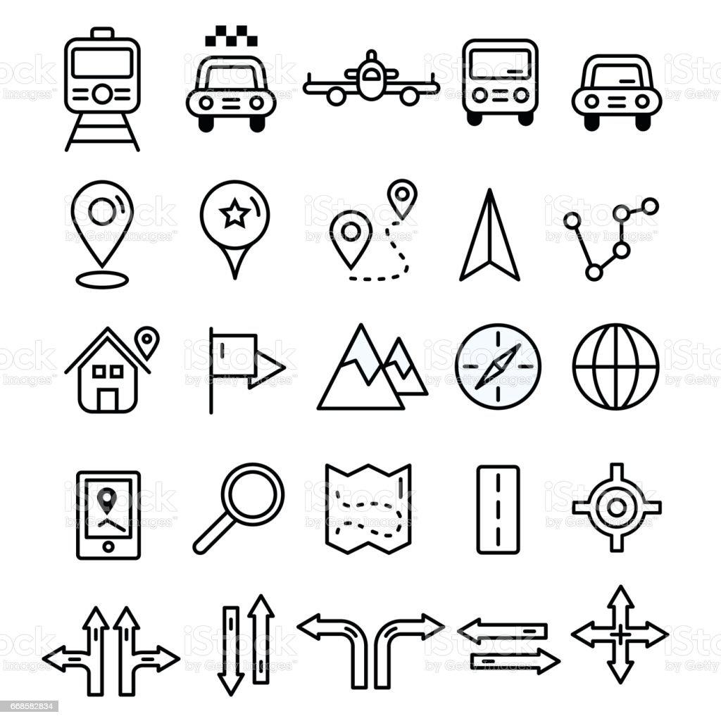 Los iconos de línea sólida plana diseño de viajes. Marcadores de mapa y transporte signos y símbolos. Elementos de contorno de vector de navegación de turismo. - ilustración de arte vectorial