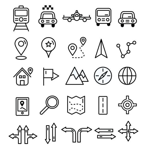 symbole im flachen durchgezogene liniendesign zu reisen. map-markierungen und transport zeichen und symbole. tourismus navigation umriss vektorelemente. - sehenswürdigkeit stock-grafiken, -clipart, -cartoons und -symbole