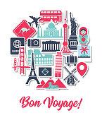 Travel Around the World Icons Landmarks Tourist Vacation Destination Stickers in Round Shape