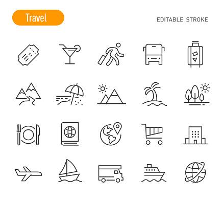 Travel Icons - Line Series - Editable Stroke