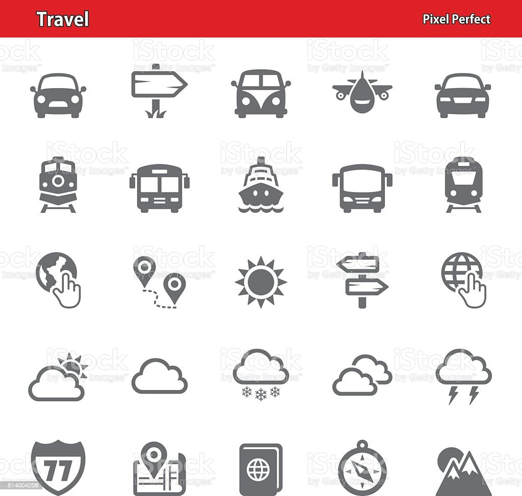 Travel Icons - Set 1 vector art illustration