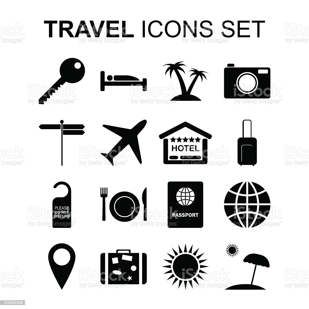 Travel icons set and tourism symbols. Vector illustration Travel icons set and tourism symbols. Silhouette signs. Vector illustration Airplane stock vector
