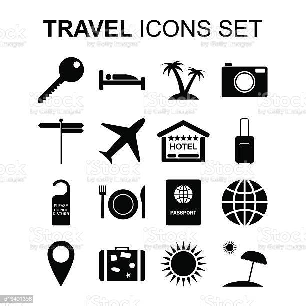 Travel Icons Set And Tourism Symbols Vector Illustration Stock Illustration - Download Image Now