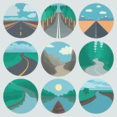 Circle Landscapes Icons in Tranding Flat Style
