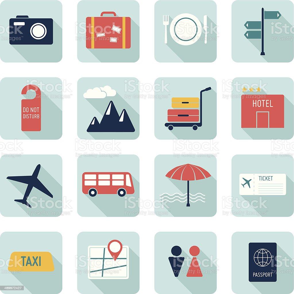 Travel icons set vector art illustration