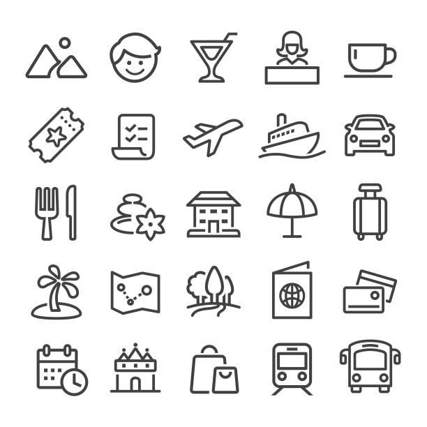 illustrazioni stock, clip art, cartoni animati e icone di tendenza di travel icons - smart line series - car chill
