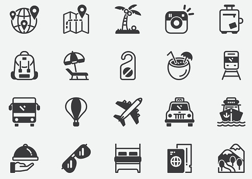 Travel Icons. Travel Destination.Editable Stroke.Business Travel. Contains such icons as Camera, Cocktail, Passport, Sunset, Plane, Hotel, Cruise Ship, ATM, Palm Tree, Backpack, Restaurant.Pixel Perfect Icons
