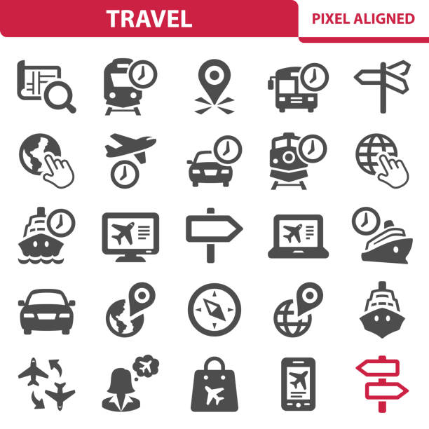 travel icons - travel agent stock illustrations, clip art, cartoons, & icons