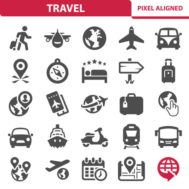 travel icons - tourist stock illustrations