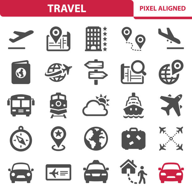 Travel Icons Professional, pixel perfect icons, EPS 10 format. cruise vacation stock illustrations