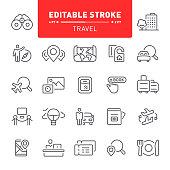 Travel, tourism, hotel, hostel, editable stroke, outline, icon, icon set, booking, reception, resort