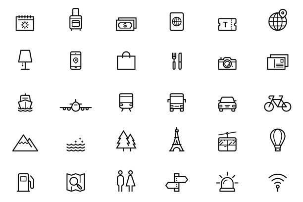 stockillustraties, clipart, cartoons en iconen met reizen van pictogrammen - cell phone toilet