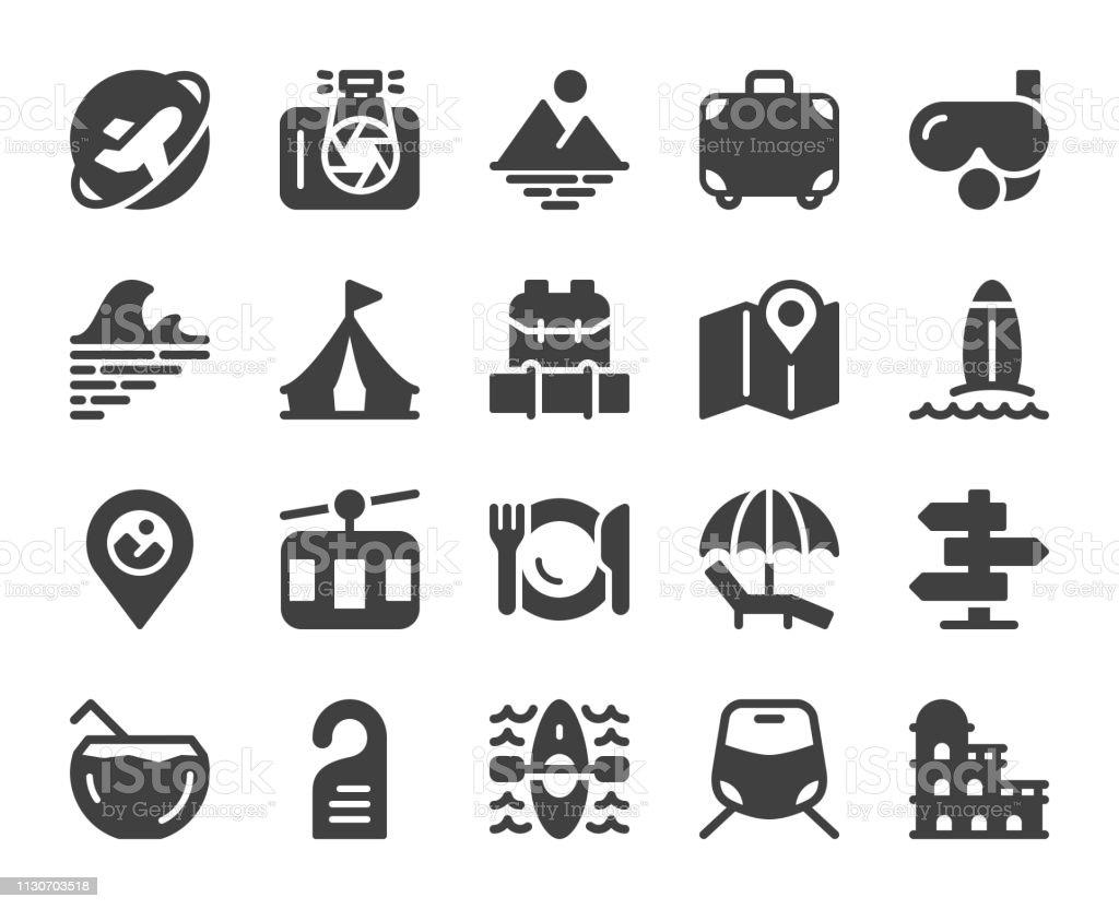 Travel - Icons vector art illustration