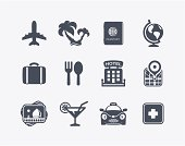 Vector set of 12 travel icons.