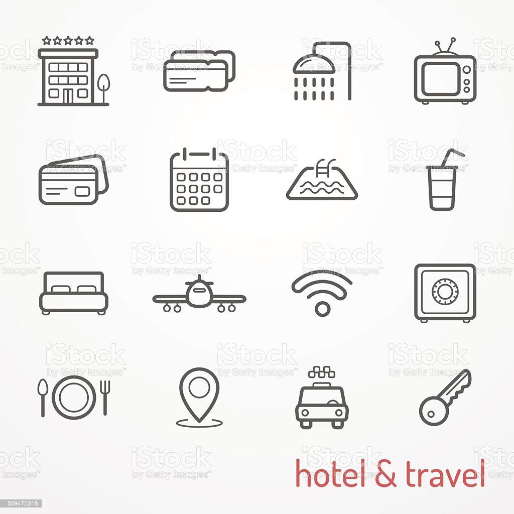 Ícones de viagem - ilustração de arte em vetor