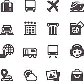 Set of 16 Travel simple vector icons. Easy resize.