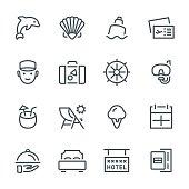 Travel, tourism, icon, icon set, cruise, vacation, resort, map