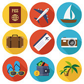 Travel flat icons in set collection. Vector illustration.
