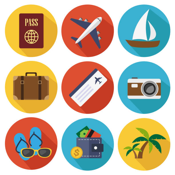 Travel icons Travel flat icons in set collection. Vector illustration. airport symbols stock illustrations