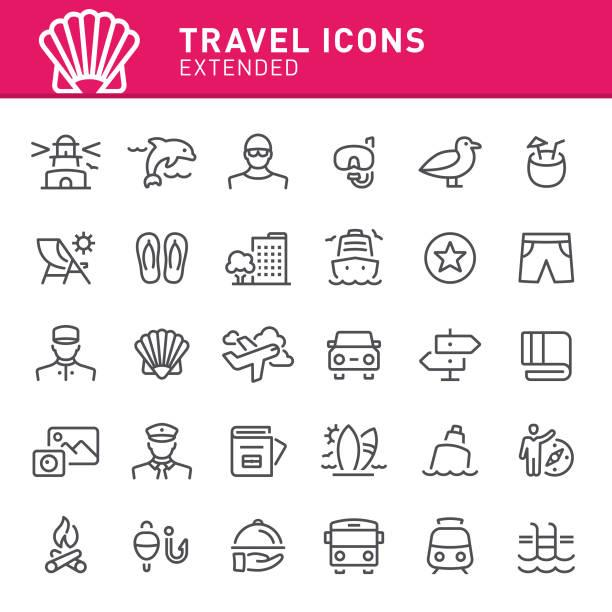 illustrations, cliparts, dessins animés et icônes de icônes de voyage - transat