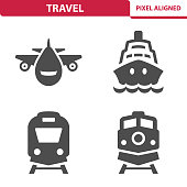 Professional, pixel aligned icons depicting various travel and vacation concepts.