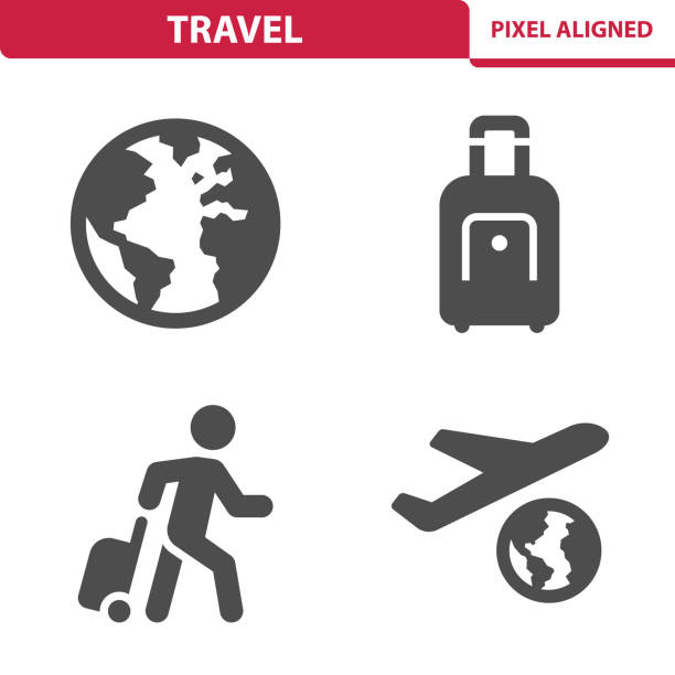 Travel Icons Professional, pixel aligned icons depicting various travel and vacation concepts. airplane symbols stock illustrations