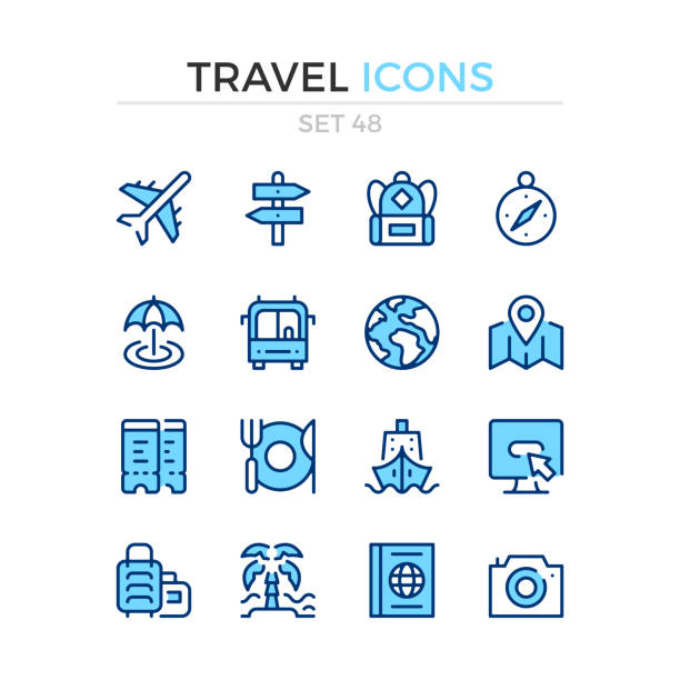 Travel icons. Vector line icons set. Premium quality. Simple thin line design. Modern outline symbols, linear stroke pictograms. Travel icons. Vector line icons set. Premium quality. Simple thin line design. Modern outline symbols, linear stroke pictograms. blue icons stock illustrations
