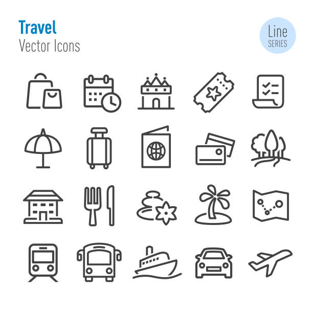 Travel Icons - Vector Line Series vector art illustration