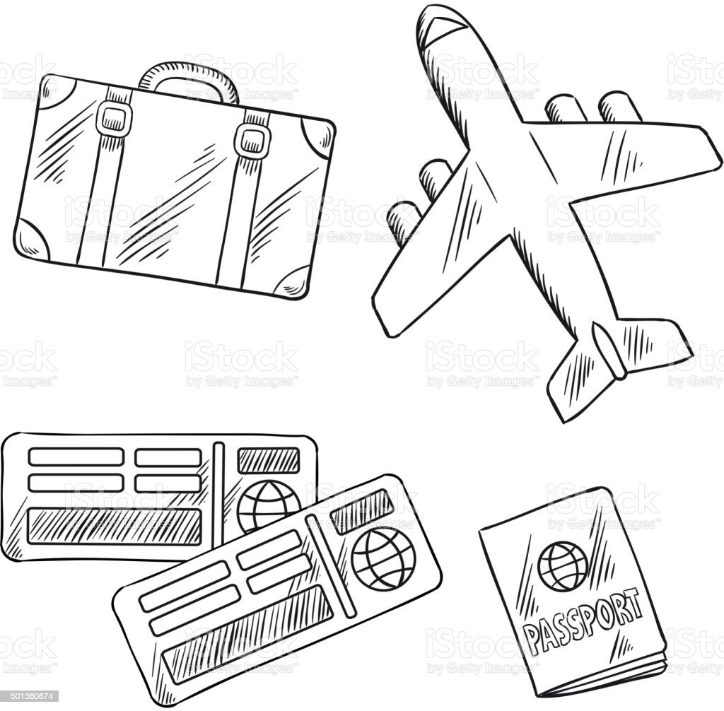 Travel Icons With Plane Bag Tickets And Passport Royalty Free