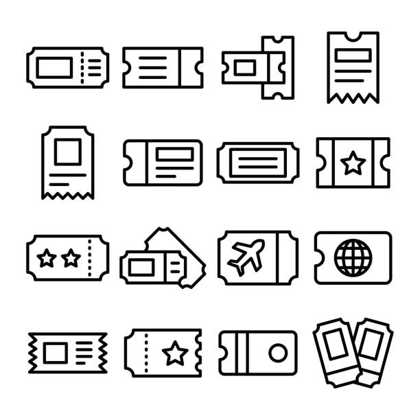 Travel Id Line Vector Icons Set Great for scrap booking all your favorite concert, cinema, air ticket and show memories! Enjoy! train ticket stock illustrations