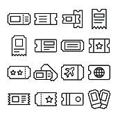 Travel Id Line Vector Icons Set
