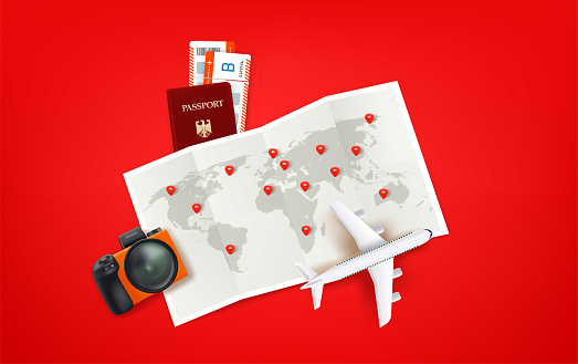 Travel illustration paper map and pins