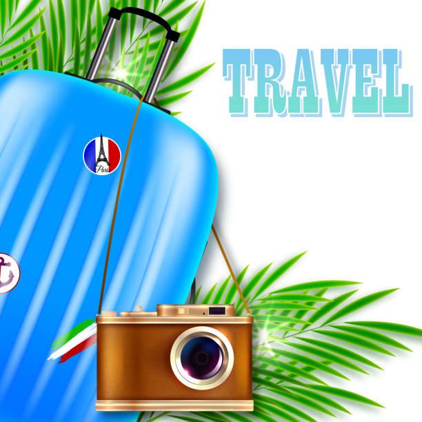 Abbildung zu reisen. Koffer mit Retro-Kamera und Palmen Blätter – Vektorgrafik