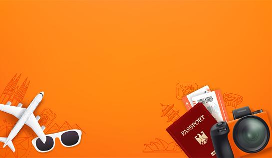 Travel illustration with different staff. Passport, digital camera, tickets, sunglasses