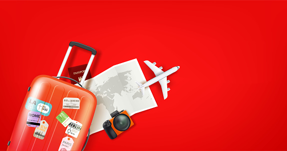 Travel illustration with different staff. Red bag, map, airplane model, camera